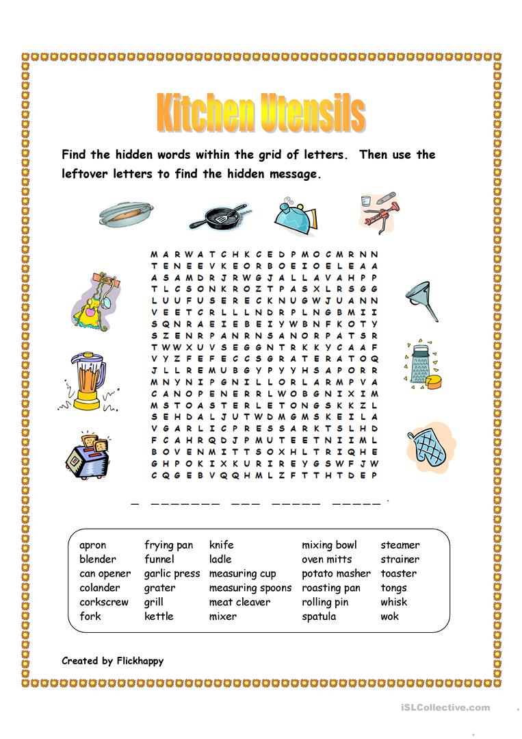 Kitchen Utensils Wordsearch Worksheet - Free Esl Printable | Kitchen Utensils Printable Worksheets