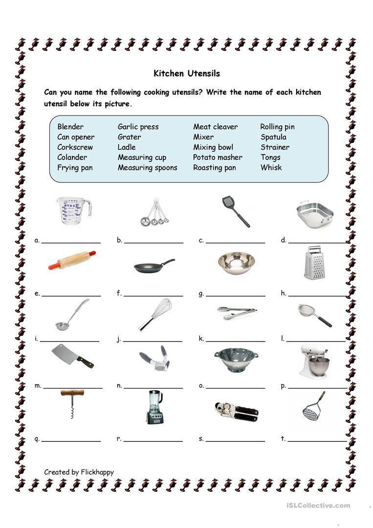 Kitchen Utensils Worksheet - Free Esl Printable Worksheets Made | Free Printable Cooking Worksheets