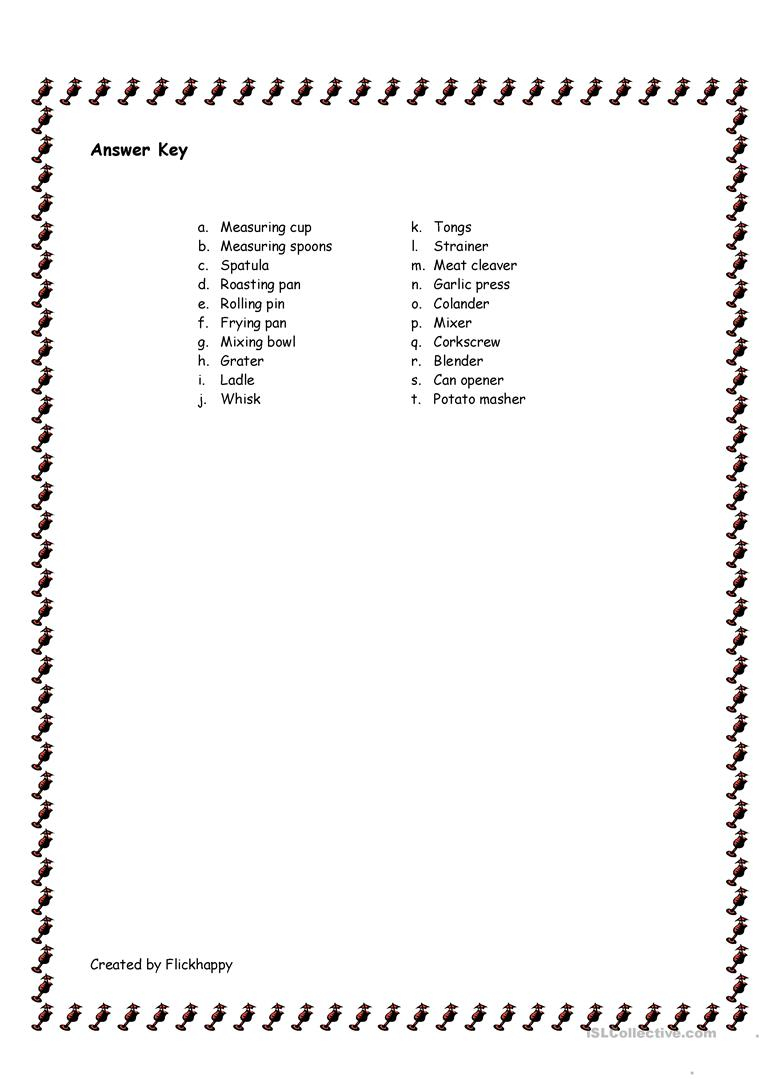 Kitchen Utensils Worksheet - Free Esl Printable Worksheets Made | Kitchen Utensils Printable Worksheets