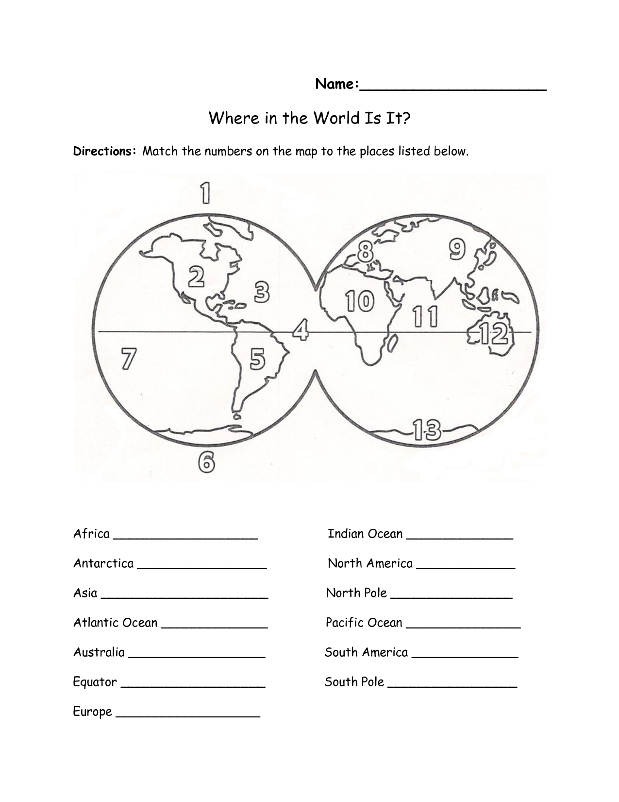 Label Continents Oceans Worksheet: Continents And Oceans Worksheet | Continents Worksheet Printable