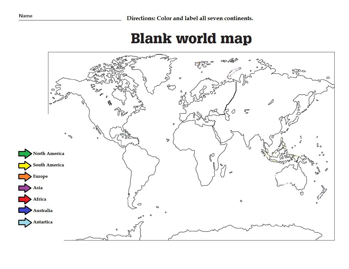 Label The The Continents And Color Them. Great Worksheet For Kids   Continents Worksheet Printable