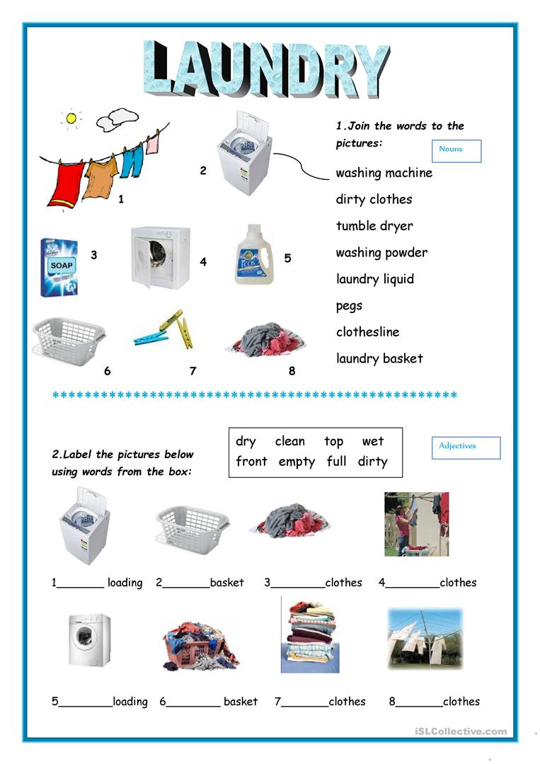 Laundry Worksheet - Free Esl Printable Worksheets Madeteachers | Laundry Worksheets Printable