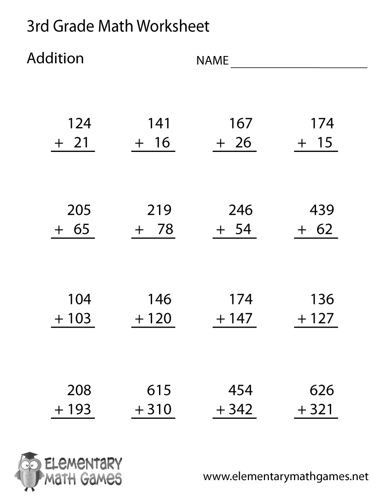 Learn And Practice Addition With This Printable 3Rd Grade Elementary | Printable 3Rd Grade Math Worksheets