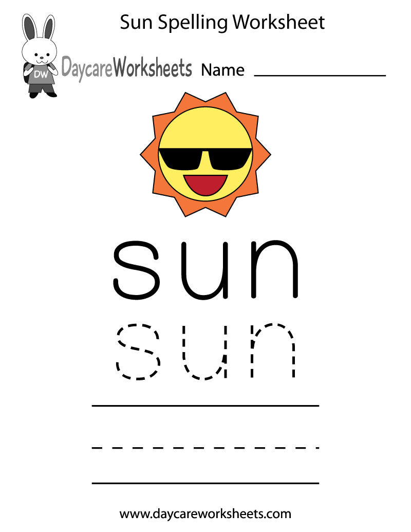 Learn And Practice How To Spell The Word Sun Using This Printable | Daycare Worksheets Printable