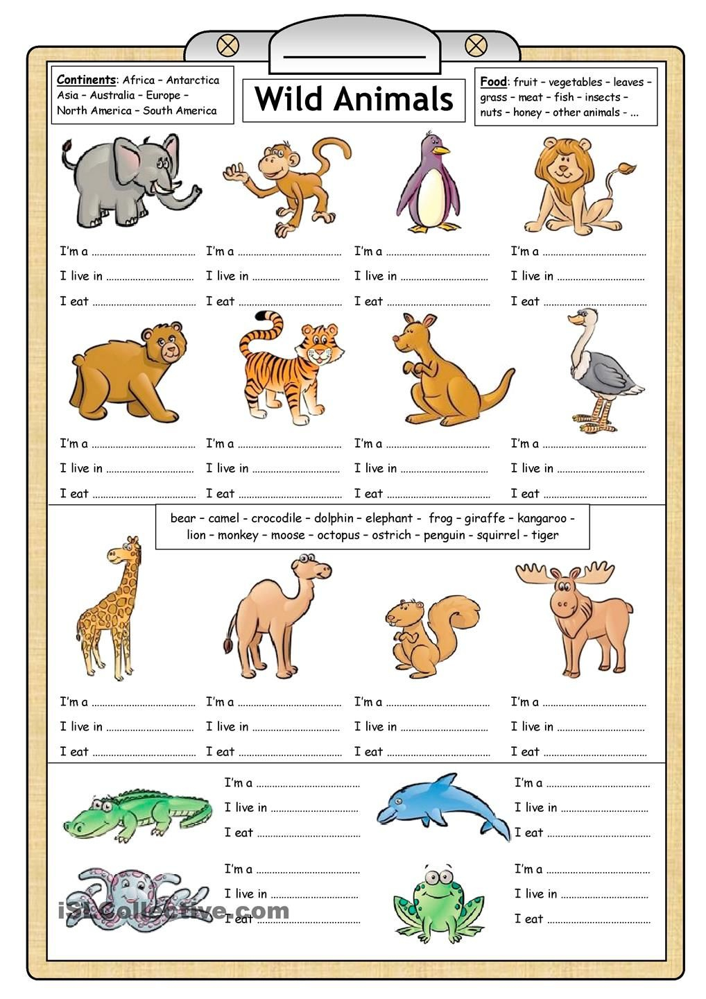 Learning About Animals For Kids Worksheets - Google Search | Los Animales Printable Worksheets