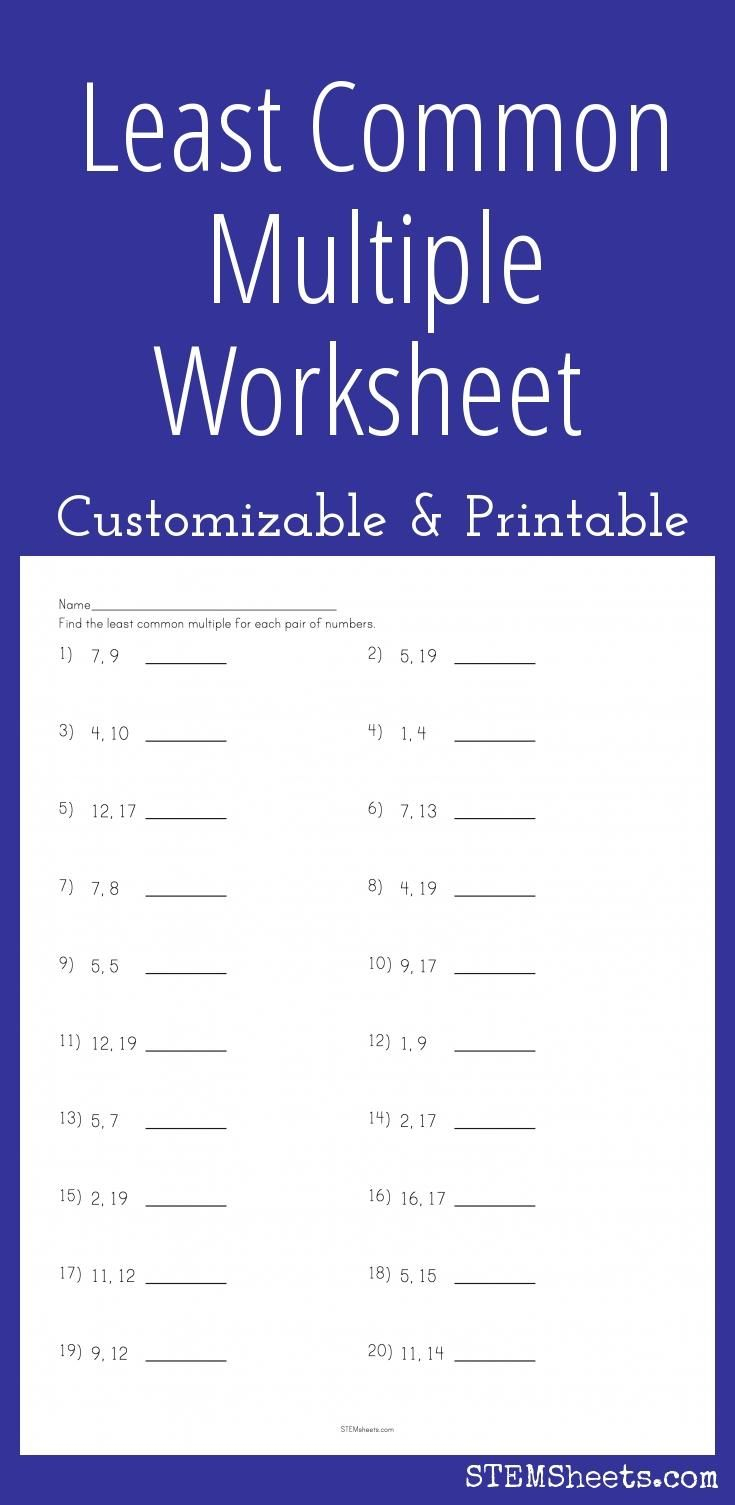 Least Common Multiple Worksheet - Customizable And Printable | Math | Free Printable Lcm Worksheets
