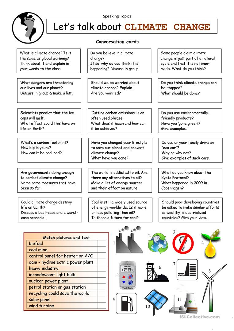 Let's Talk About Climate Change Worksheet - Free Esl Printable | Climate Change Printable Worksheets