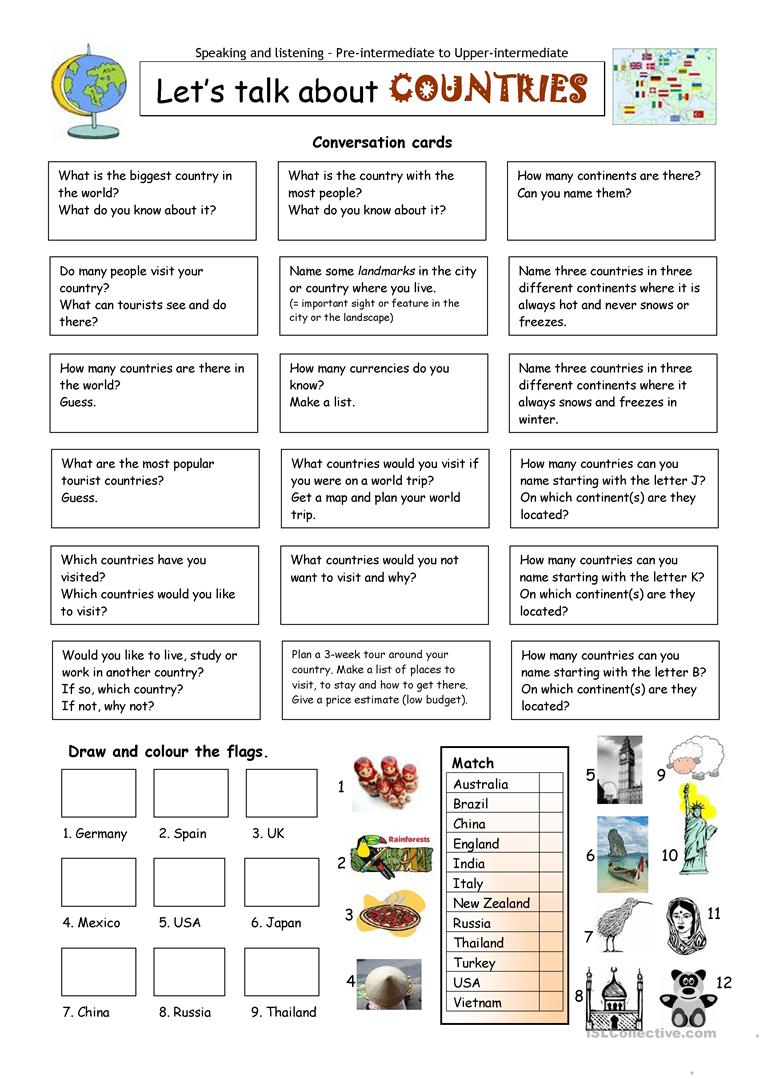 Let´s Talk About Countries Worksheet - Free Esl Printable Worksheets | Printable Worksheets Esl Students