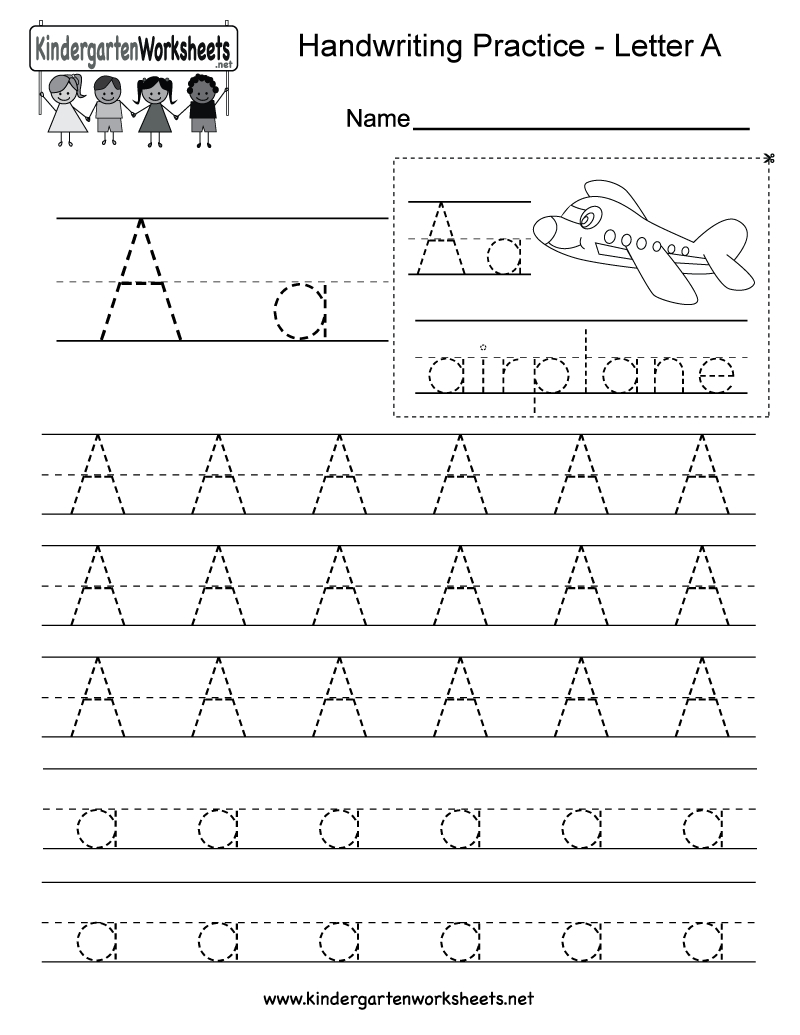 Letter A Writing Practice Worksheet - Free Kindergarten English | Free Printable Writing Worksheets For Kindergarten