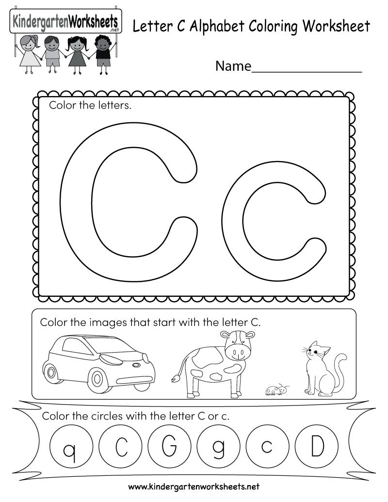 Letter C Coloring Worksheet - Free Kindergarten English Worksheet | Free Printable Color By Letter Worksheets