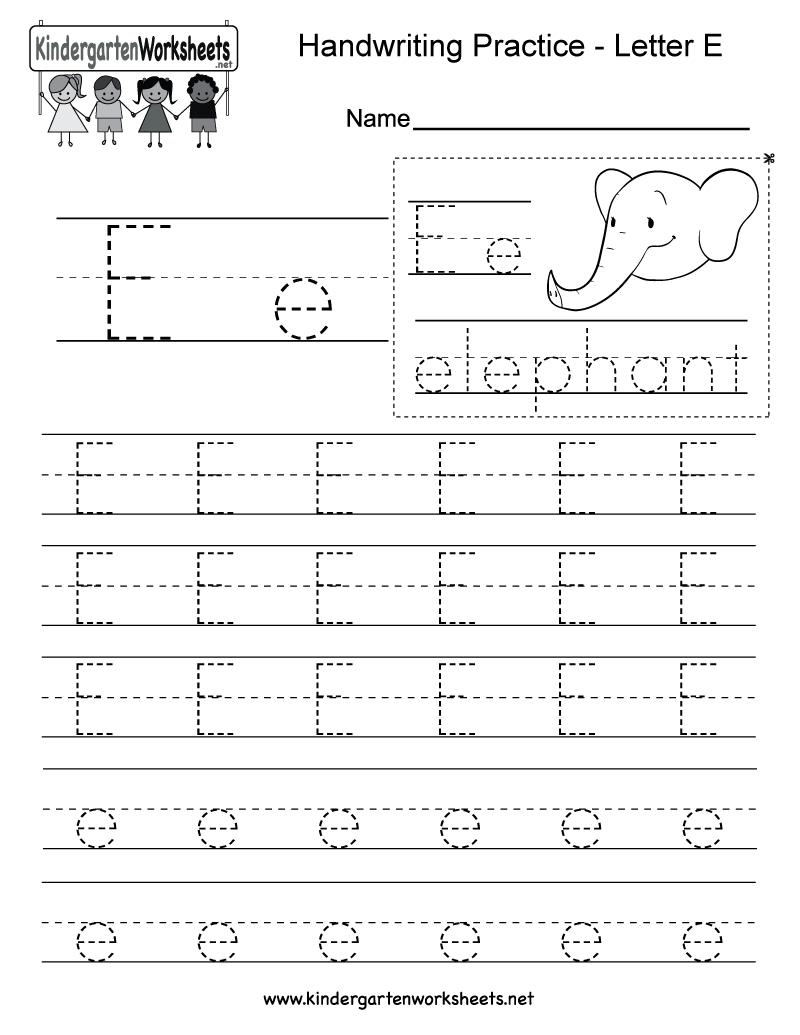 Letter E Writing Practice Worksheet - Free Kindergarten English | Letter E Printable Worksheets
