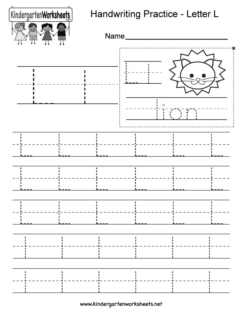 Letter L Writing Practice Worksheet - Free Kindergarten English | Free Printable Letter L Tracing Worksheets