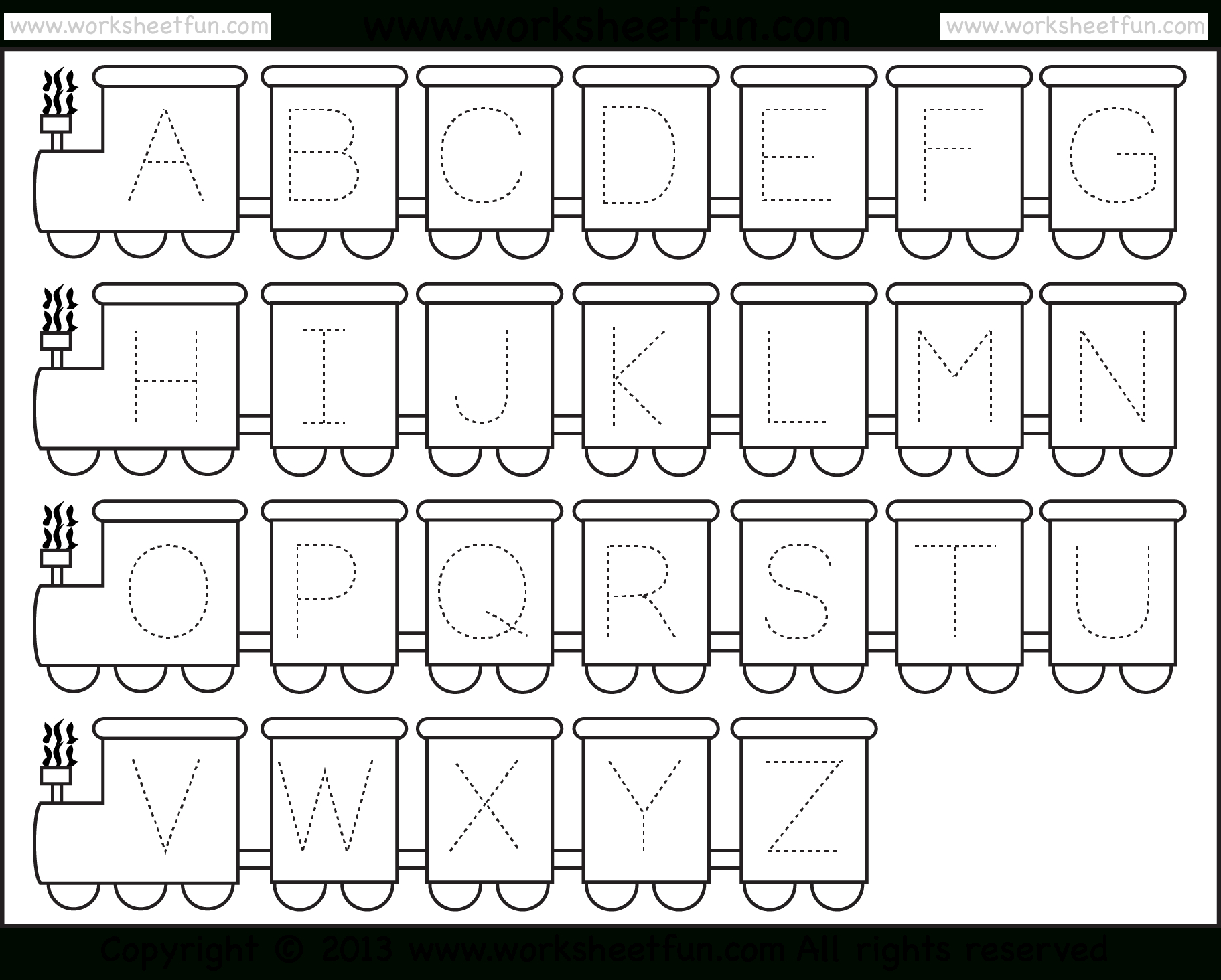 Letter Tracing Worksheet – Train Theme / Free Printable Worksheets   Free Printable Alphabet Tracing Worksheets