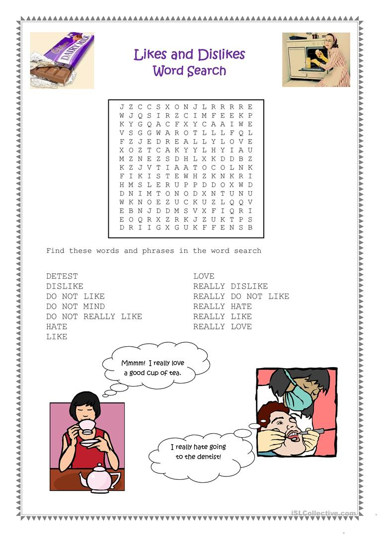 Likes And Dislikes Word Search Worksheet - Free Esl Printable   Likes And Dislikes Printable Worksheets