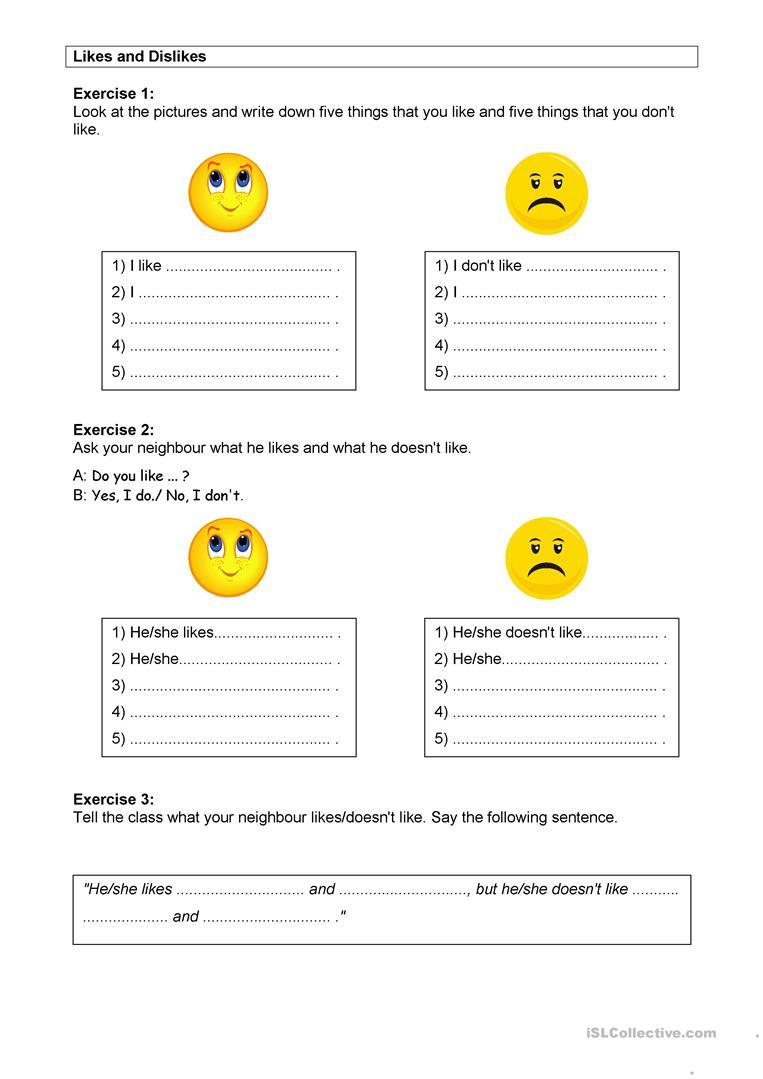 Likes And Dislikes Worksheet - Free Esl Printable Worksheets Made | Likes And Dislikes Printable Worksheets