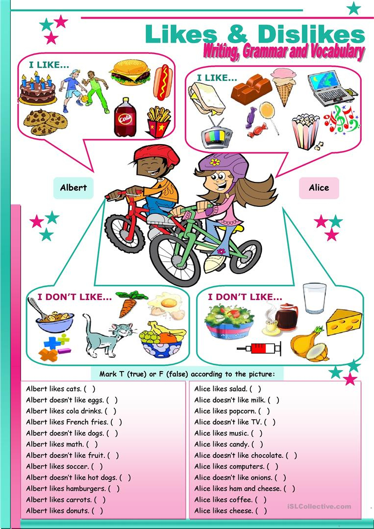 Likes & Dislikes (To Be, Either, Too) Worksheet - Free Esl Printable | Likes And Dislikes Printable Worksheets