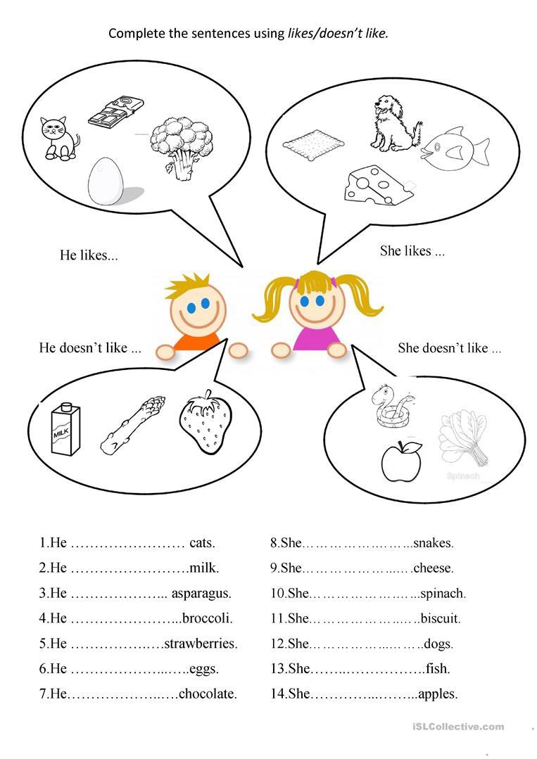 Likes / Doesn't Like Worksheet - Free Esl Printable Worksheets Made | Likes And Dislikes Printable Worksheets