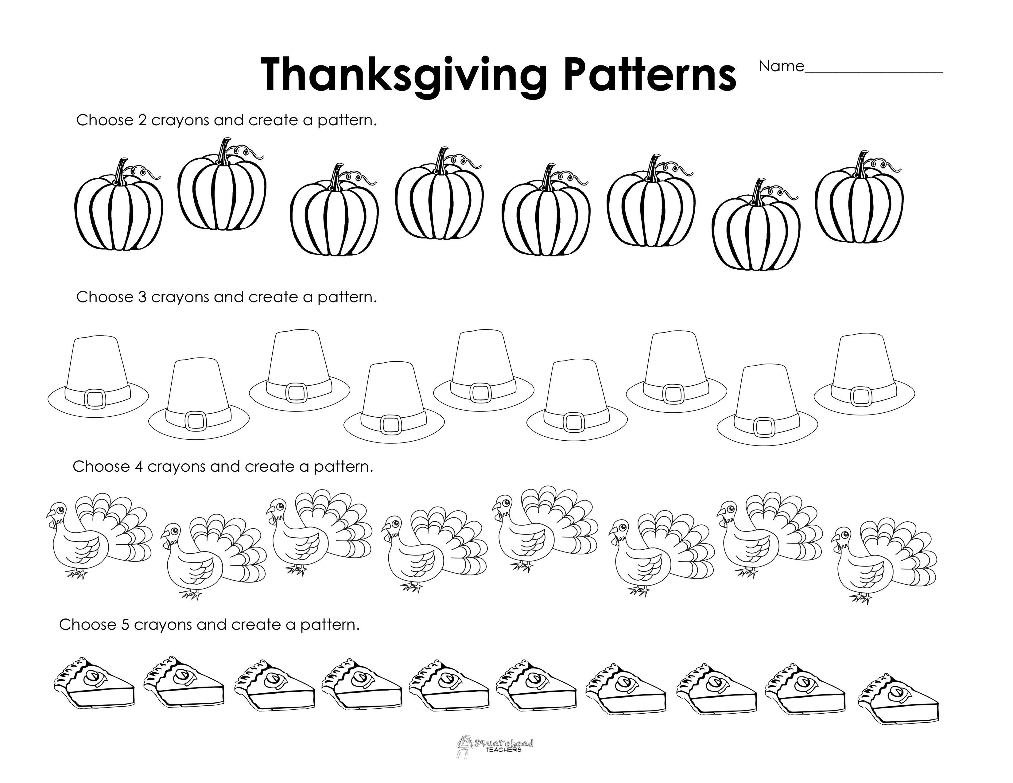 Making Patterns: Thanksgiving Style (Free Worksheet!) | Squarehead | Printable Thanksgiving Worksheets Kindergarten