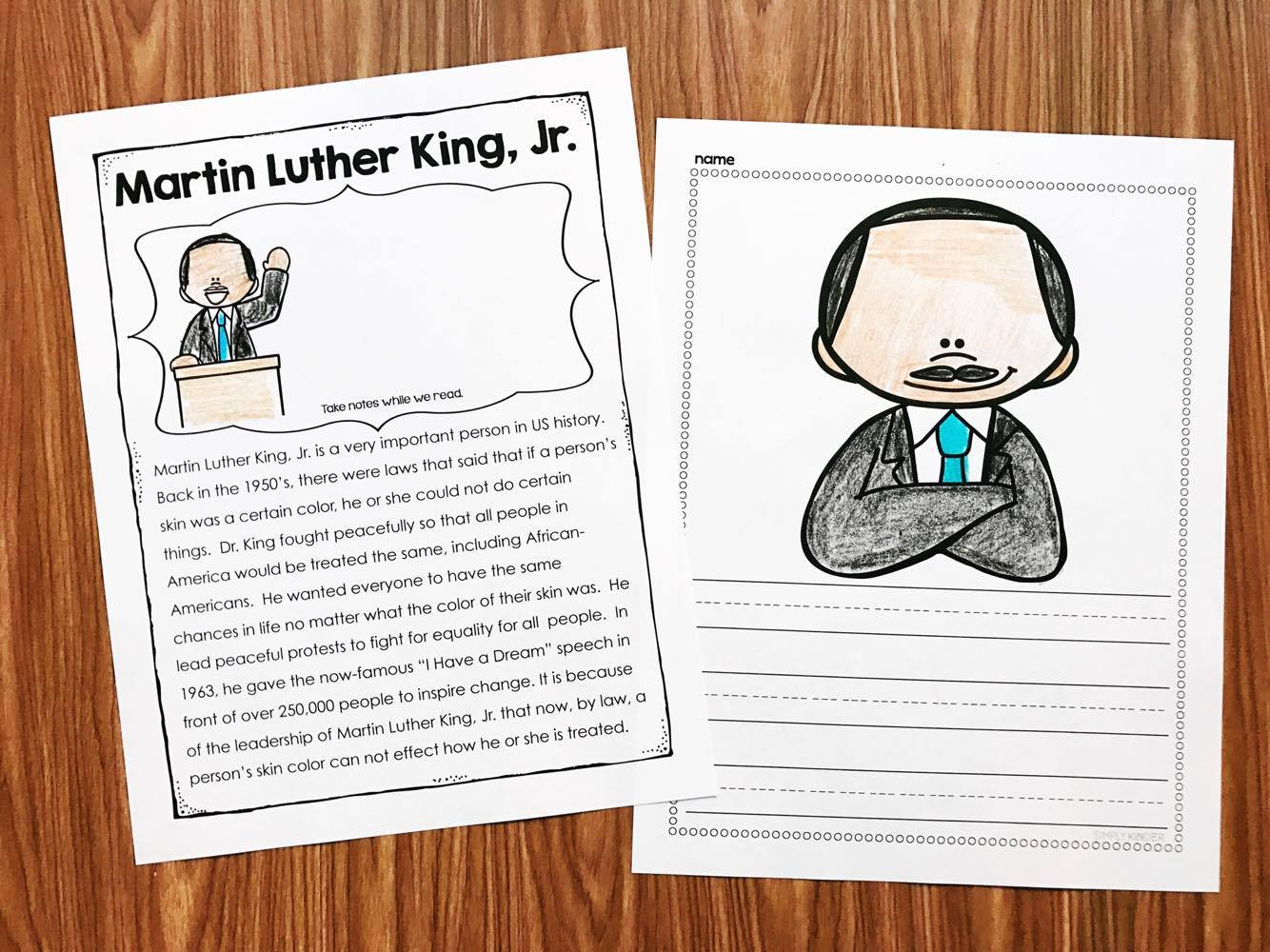 Martin Luther King Kindergarten Printables - Simply Kinder | Free Printable Martin Luther King Worksheets For Kindergarten