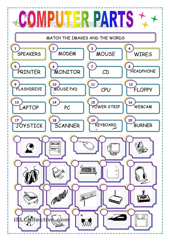 Match The Computer Parts Worksheet - Free Esl Printable Worksheets | Free Printable Computer Keyboarding Worksheets