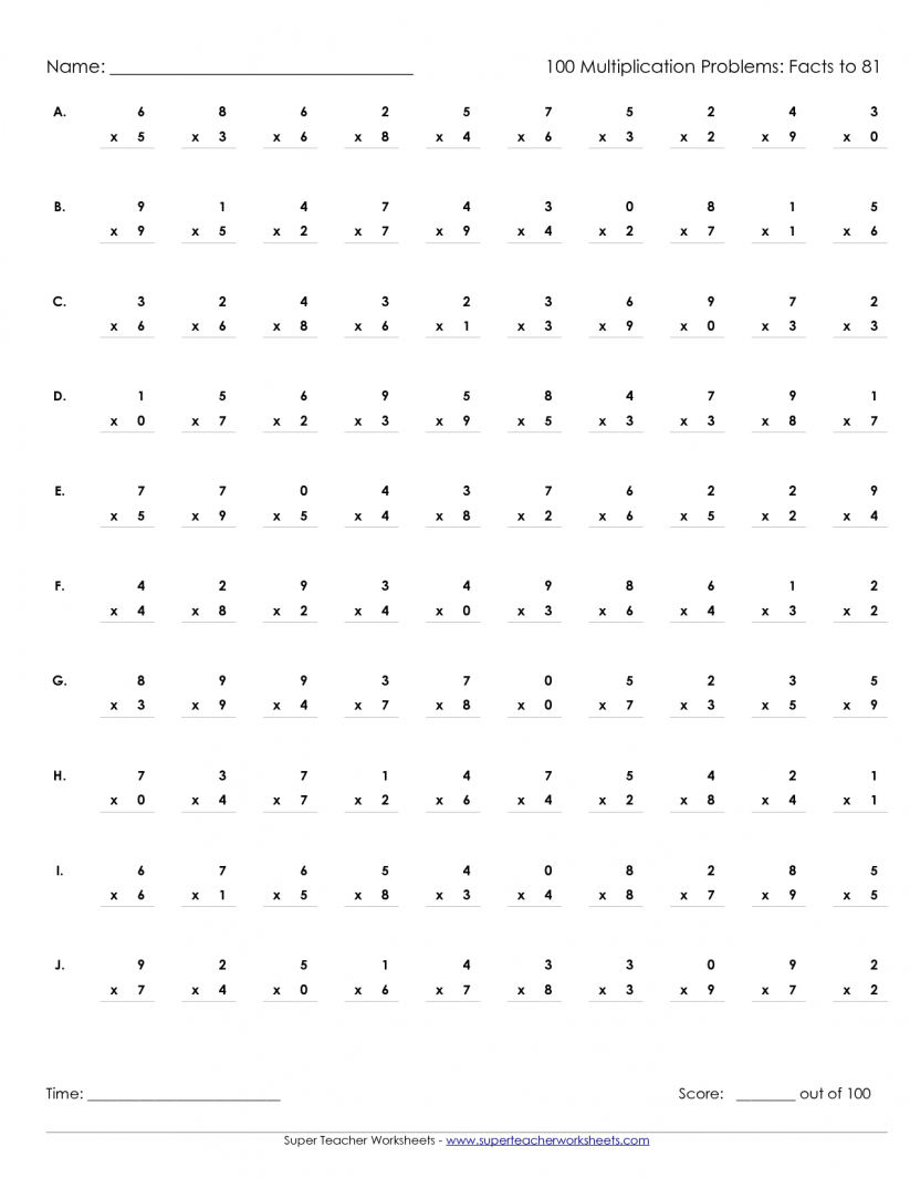 Math : Multiplication Problems Worksheet 50 Multiplication Problems | Free Printable Multiplication Worksheets 100 Problems