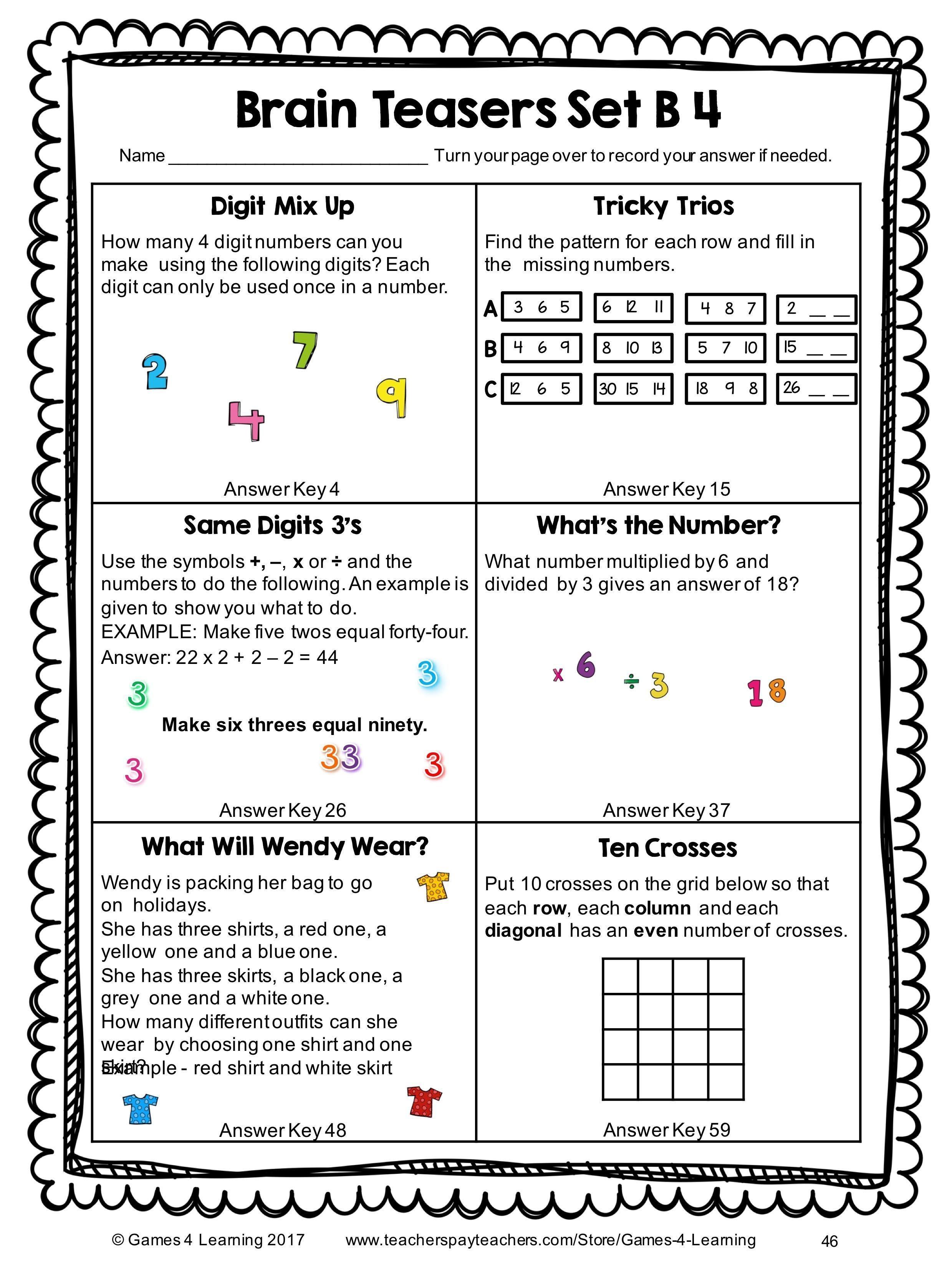 Math Worksheet: Math Riddles Worksheets Free Printable Algebra | Printable Math Riddles Worksheets