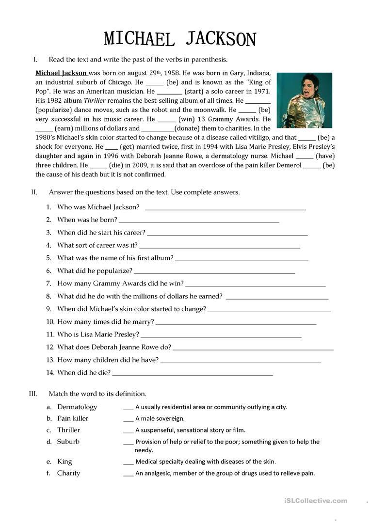 Michael Jackson Biography Worksheet - Free Esl Printable Worksheets | Printable Biography Worksheets