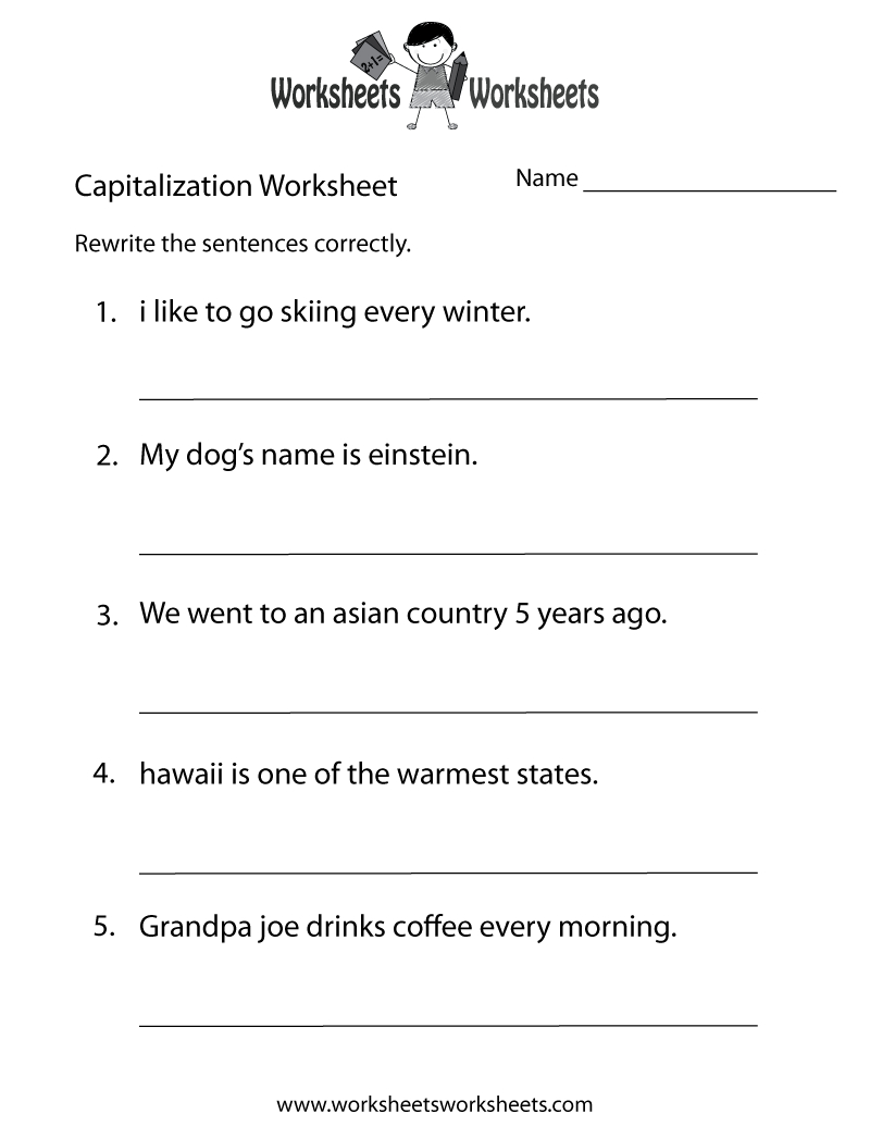 Middle School Capitalization Worksheet - Free Printable Educational | Middle School Printable Worksheets