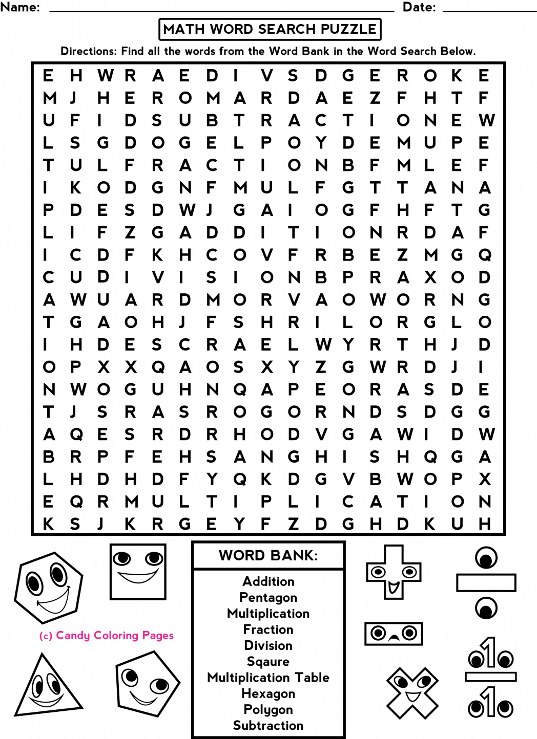 Middle School Free-Printable-Halloween-Math-Worksheets-For-Pre | Free Printable Math Word Search Worksheets