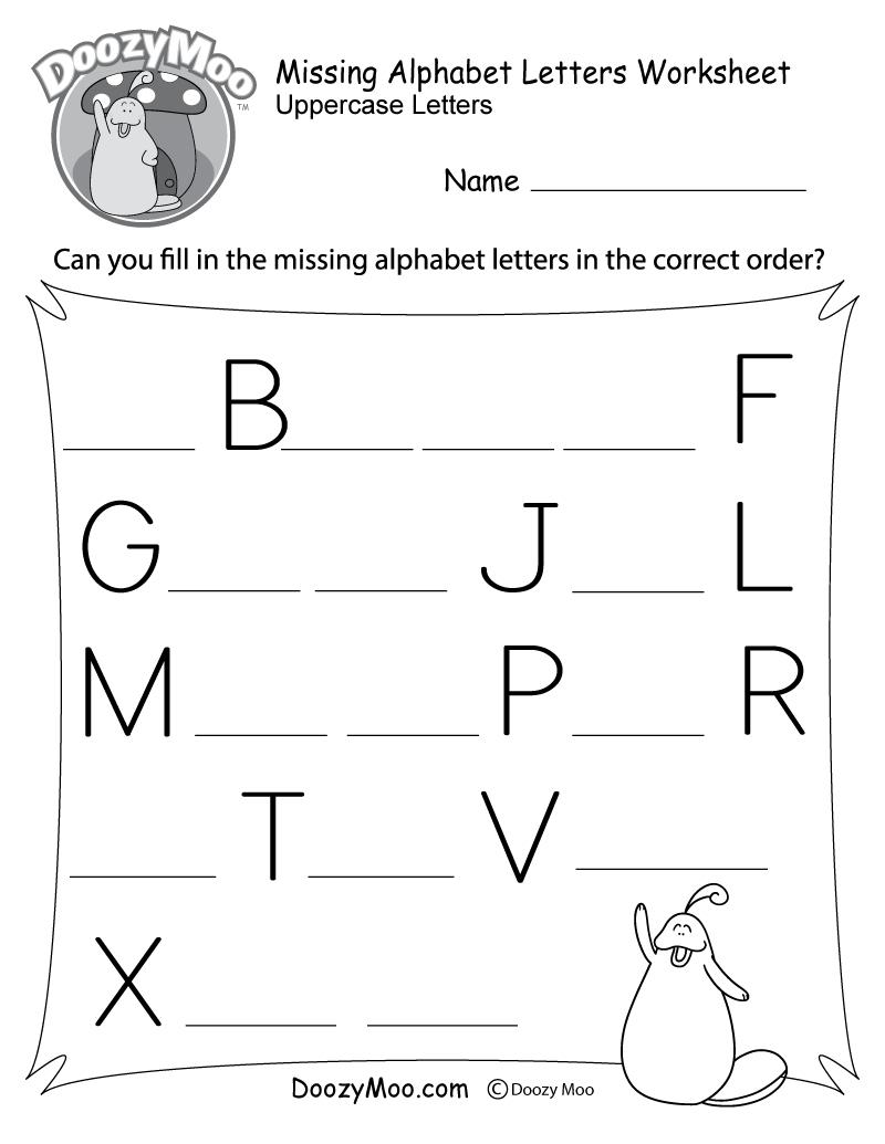 Missing Alphabet Letters Worksheet (Free Printable) - Doozy Moo | Free Printable Alphabet Worksheets