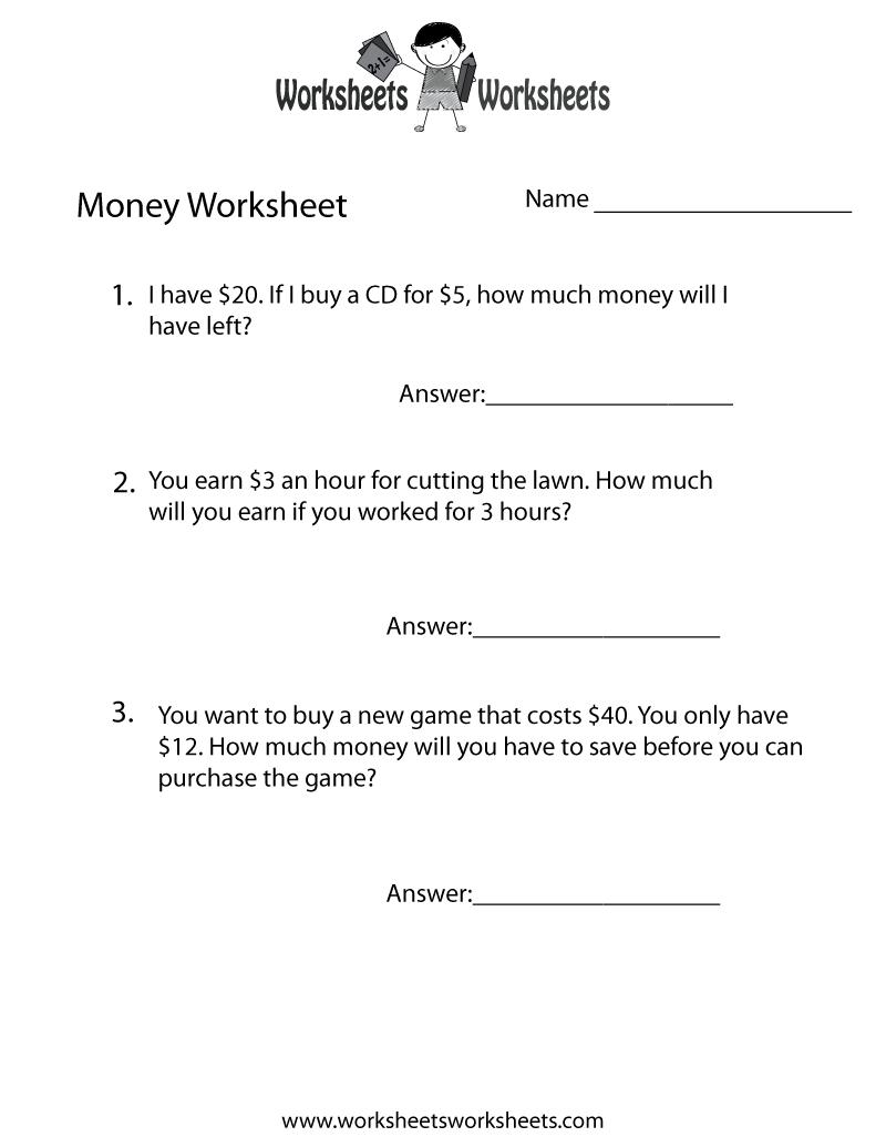 Money Word Problems Worksheet - Free Printable Educational Worksheet | Free Printable Money Word Problems Worksheets
