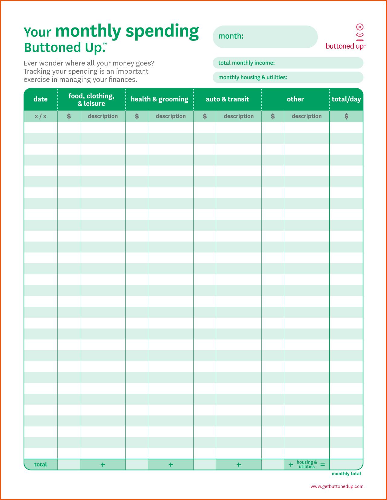 Monthly Budget Worksheet Printablememo Templates Word | Memo | Monthly Spending Worksheet Printable