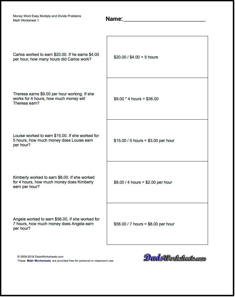 Multiplication Worksheet And Division Worksheet Money Word Problems | Free Printable Money Word Problems Worksheets