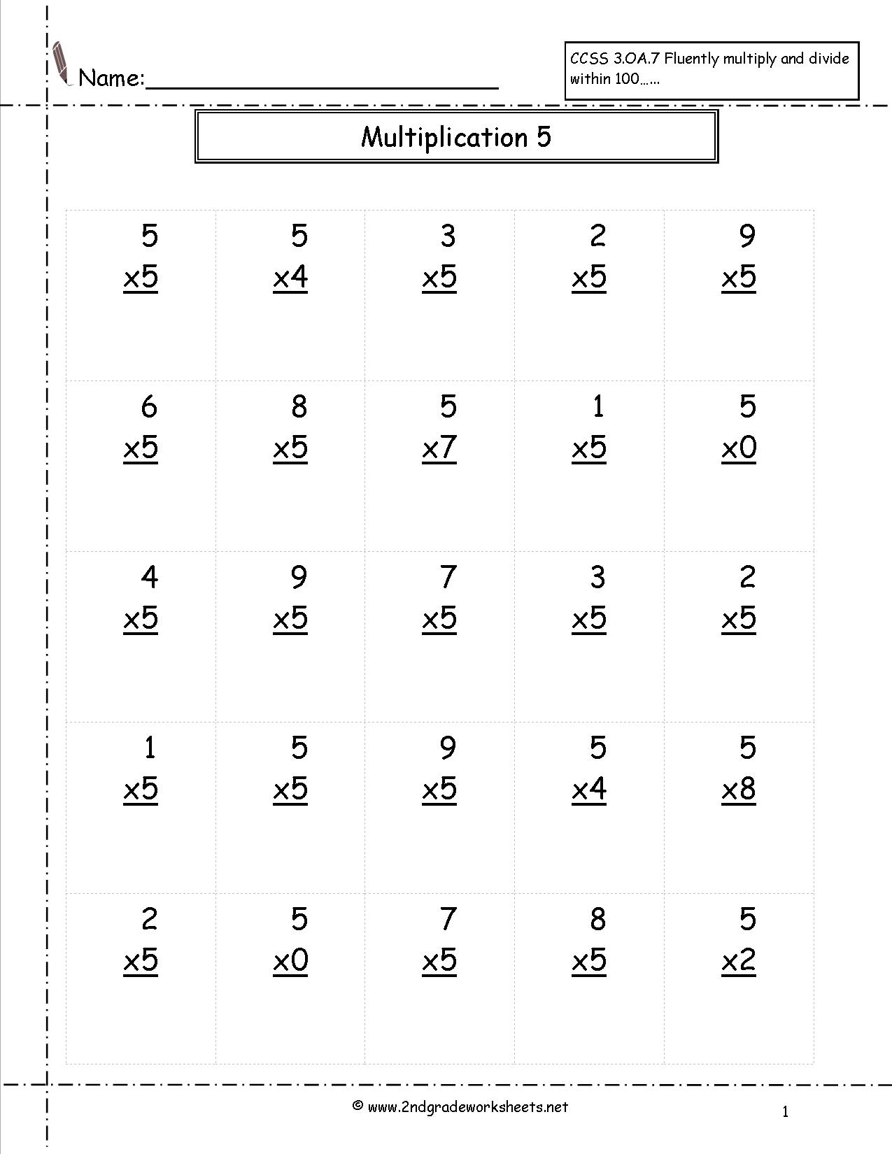 Multiplication Worksheets And Printouts | Basic Multiplication Printable Worksheets