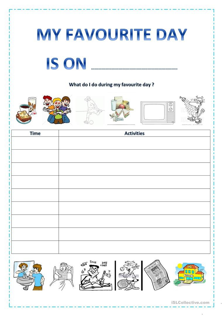 My Favourite Day Worksheet - Free Esl Printable Worksheets Made | Free Printable Number Of The Day Worksheets