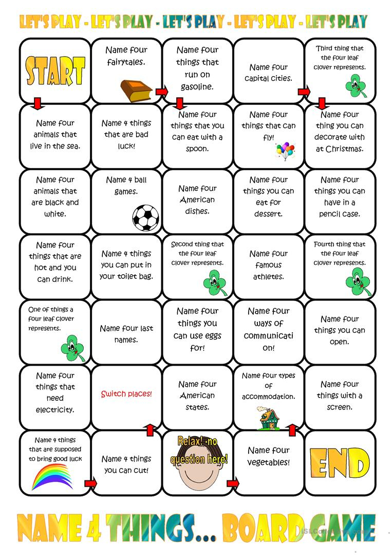 Name Four Things Board Game Worksheet - Free Esl Printable | Printable Barrier Games Worksheets