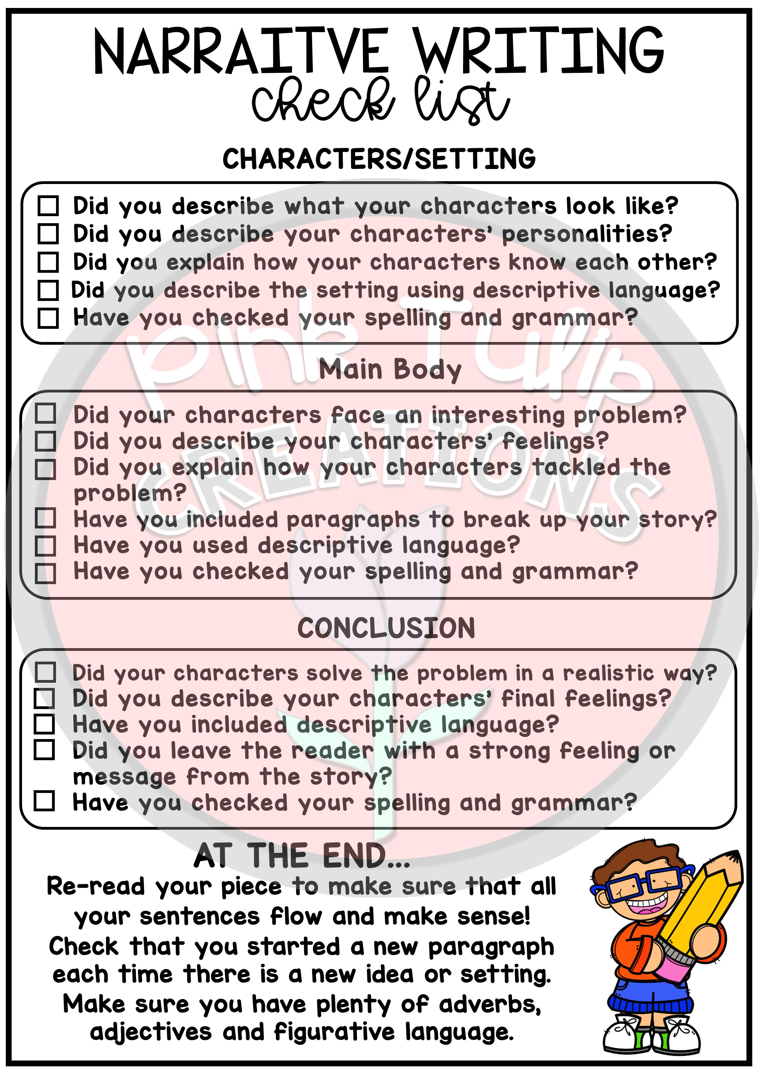 Narrative Writing Worksheet Pack - No Prep Lesson Ideas | Writing | Printable Check Writing Worksheets