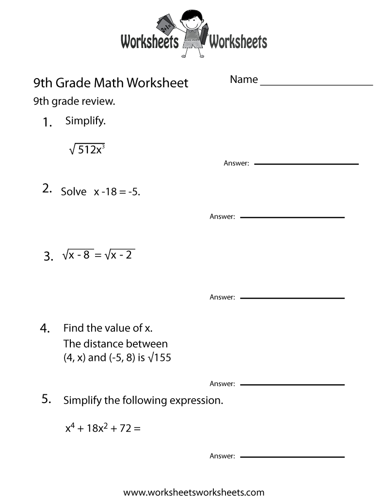 Ninth Grade Math Practice Worksheet Printable | Teaching | Math | Free Printable 9Th Grade Grammar Worksheets