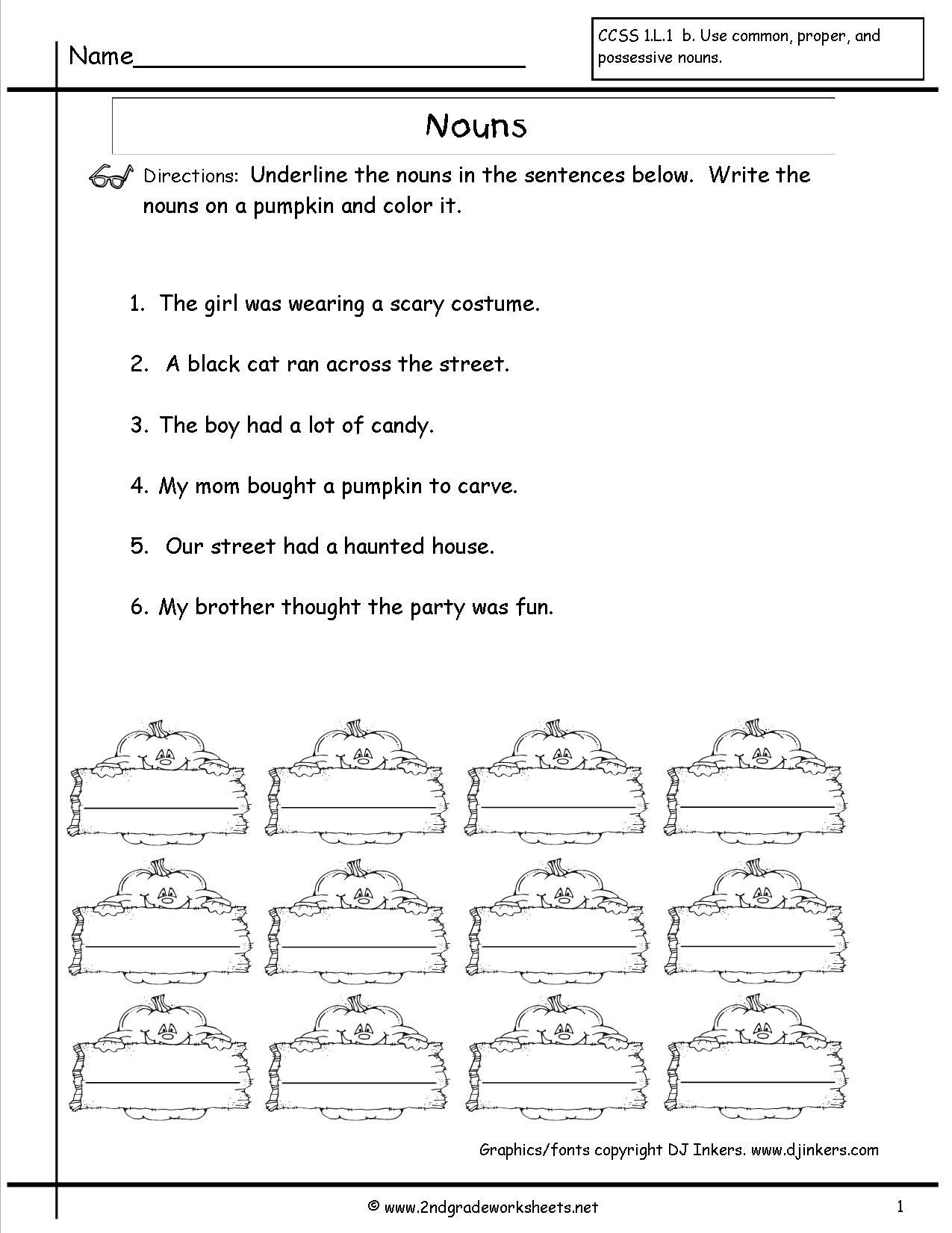 Nouns Worksheets And Printouts | Free Printable Verb Worksheets