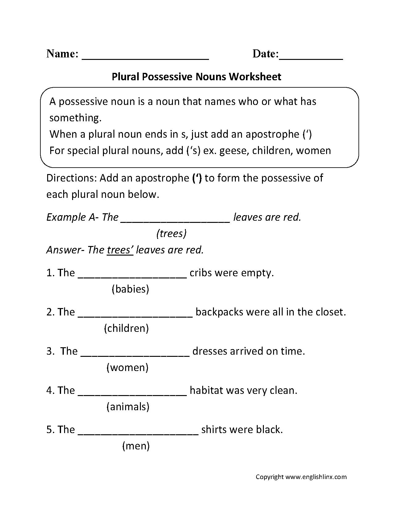 Nouns Worksheets | Possessive Nouns Worksheets | Possessive Pronouns Printable Worksheets