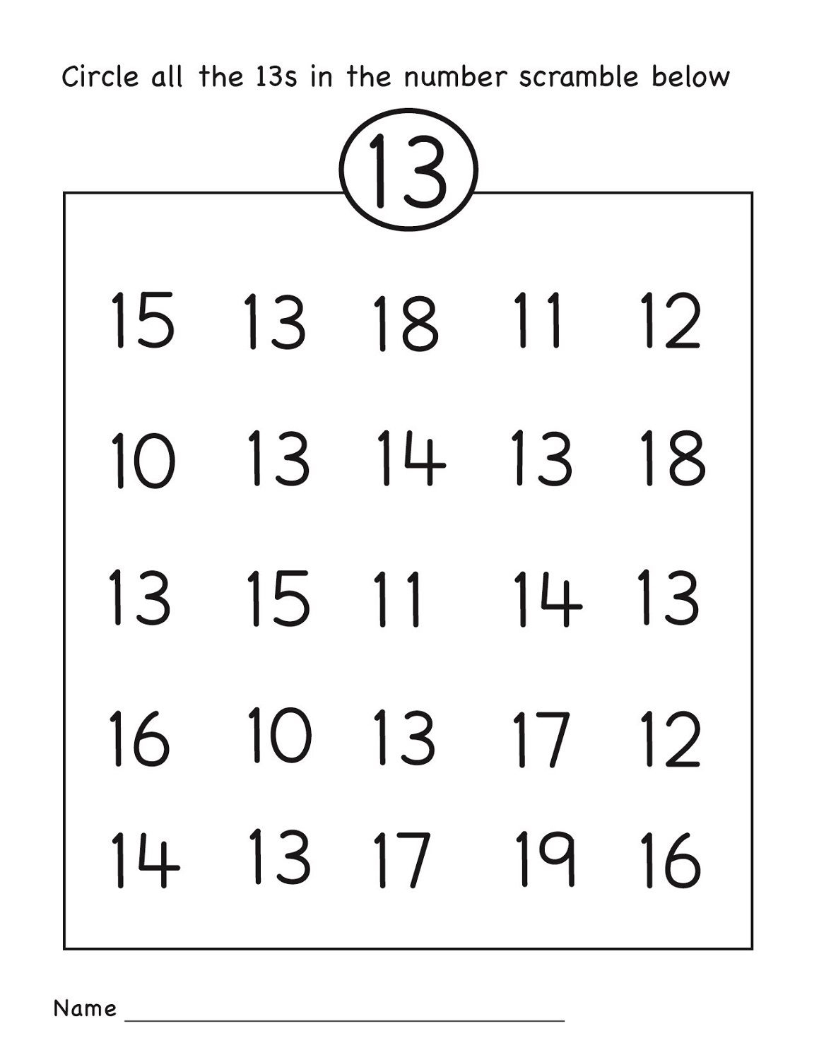 Number 13 Worksheet Circle | Grade R Activities | Number Worksheets | Free Printable Number Worksheets