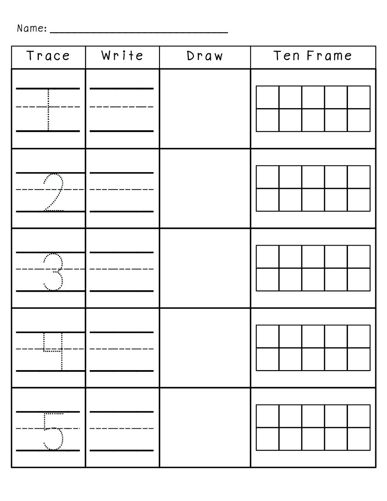Number Practice 1-10: Trace, Write, Draw, Fill In Ten Frame. Plus A | Frame Games Printable Worksheets