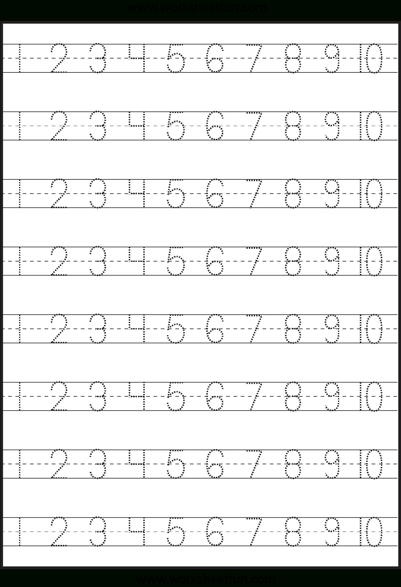 Number Tracing – 1-10 – Worksheet / Free Printable Worksheets | Free Printable Tracing Worksheets