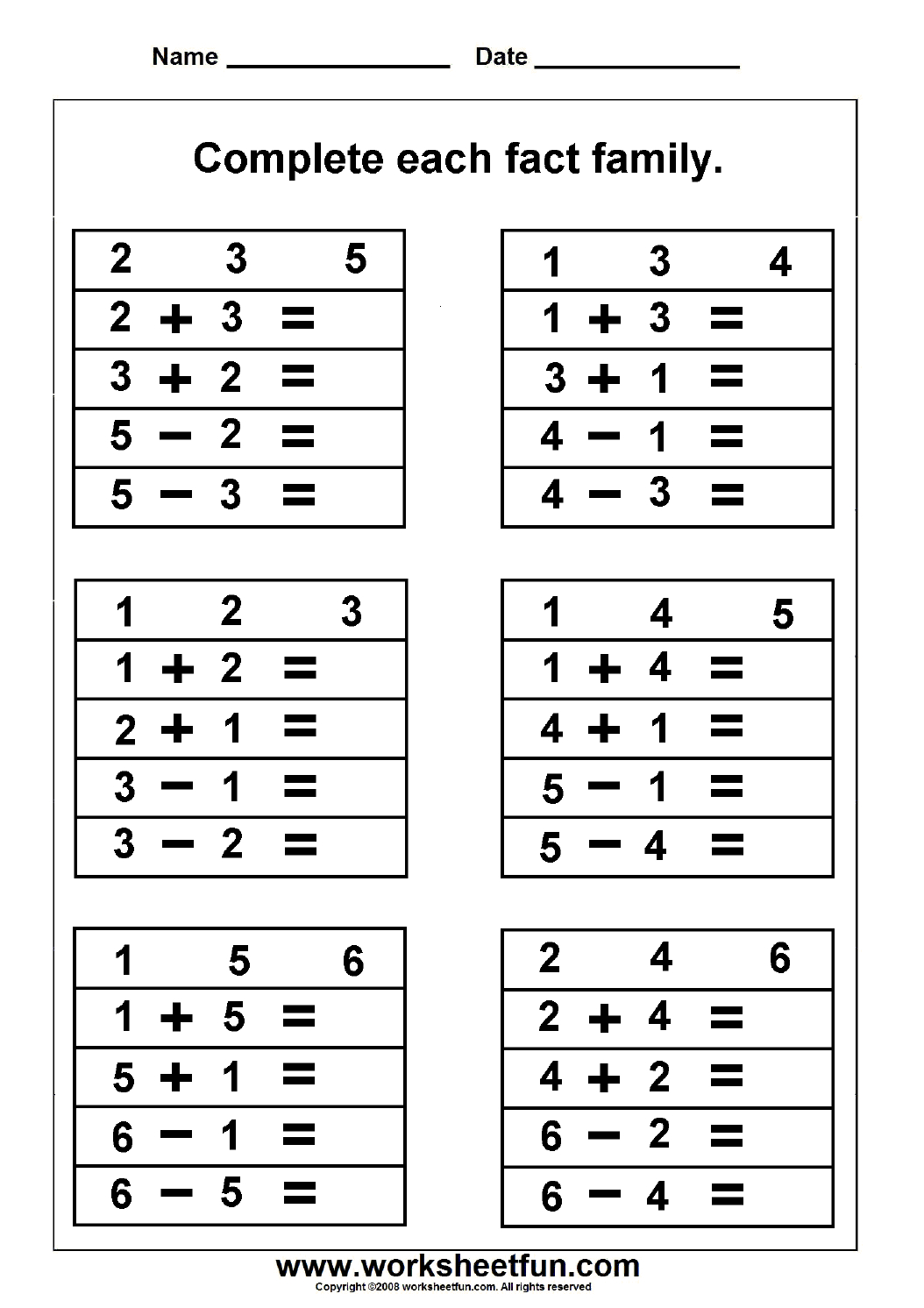Numbers -Fact Family / Free Printable Worksheets – Worksheetfun | Family Printable Worksheets