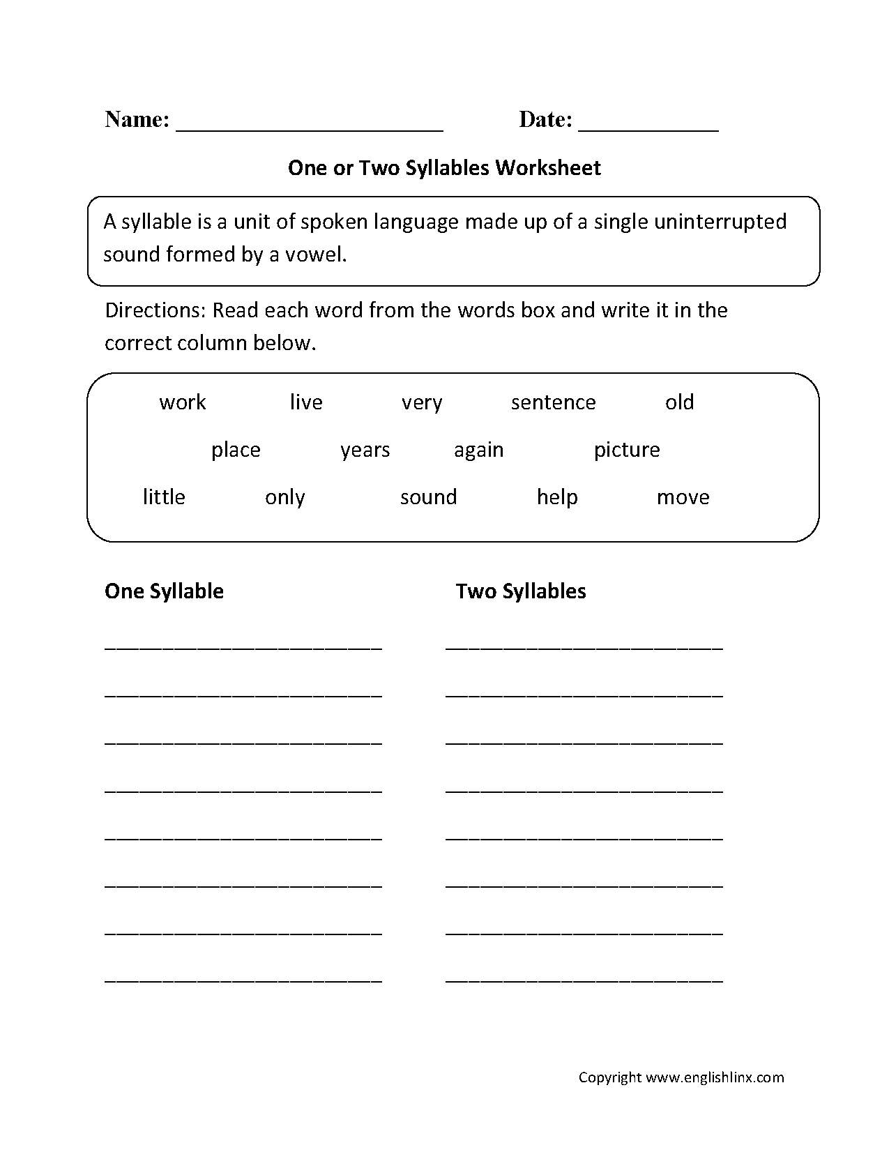 One Or Two Syllables Worksheet | 1 | Syllable, Worksheets, Phonics | Free Printable Open And Closed Syllable Worksheets