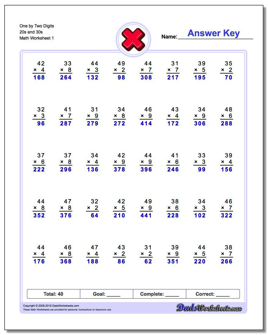 Onetwo Digits 20S And 30S Worksheet #multiplication #worksheet | Free Printable Double Digit Multiplication Worksheets