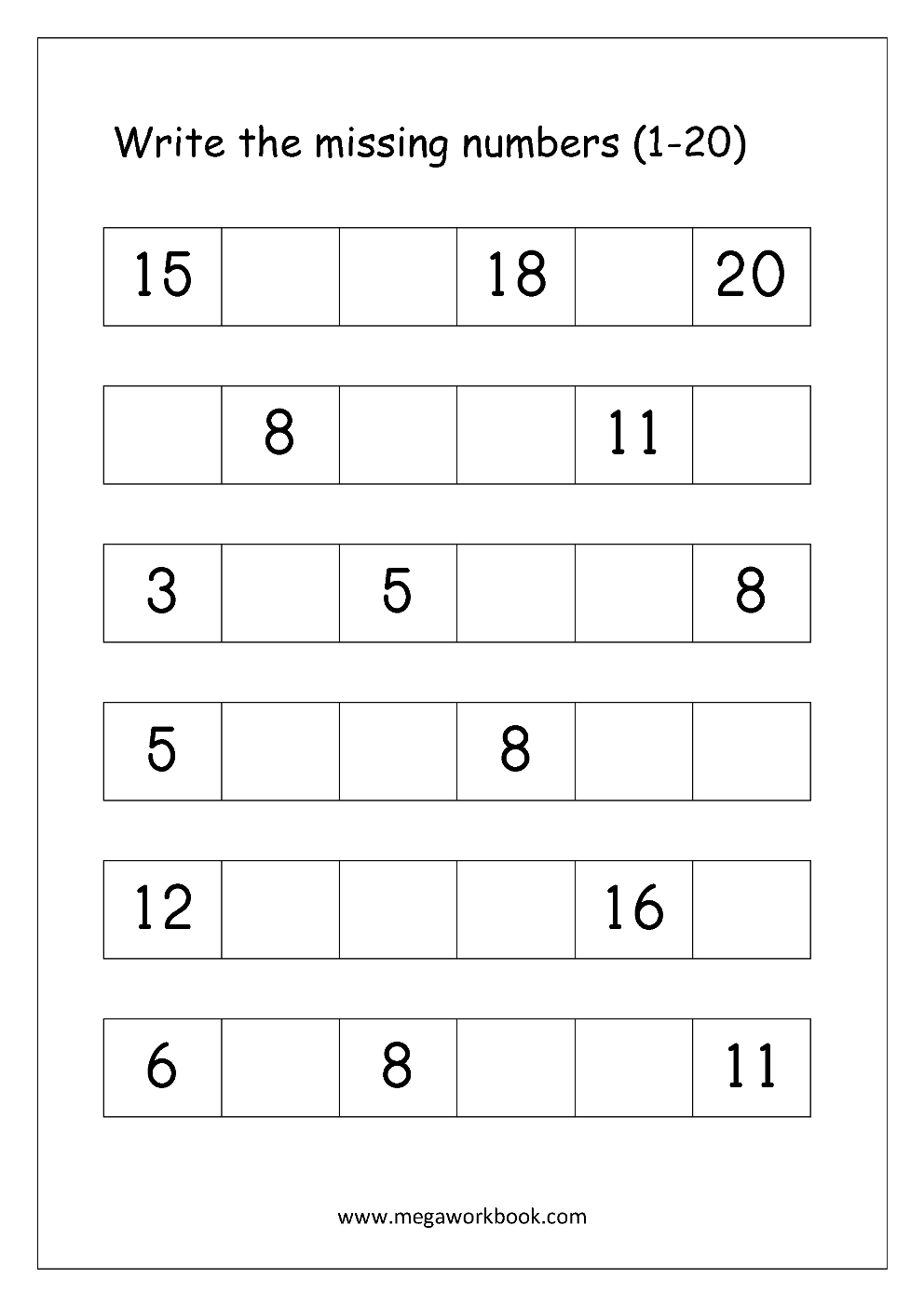 Ordering Numbers Worksheets, Missing Numbers, What Comes Before And | Writing Numbers 1 20 Printable Worksheets