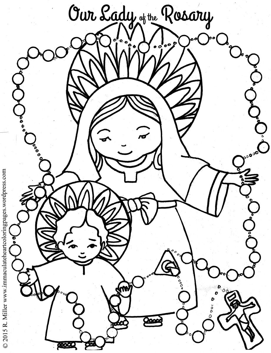 Our Lady Of The Rosary Coloring Page   Coloring Pages   Coloring   Free Printable Rosary Worksheets