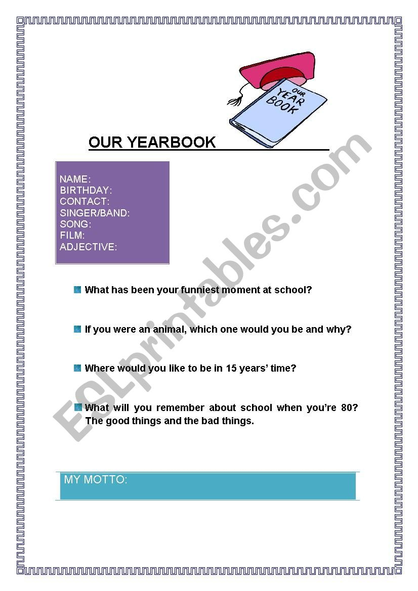Our Yearbook - Esl Worksheetpaula.garrigues | Yearbook Printable Worksheets