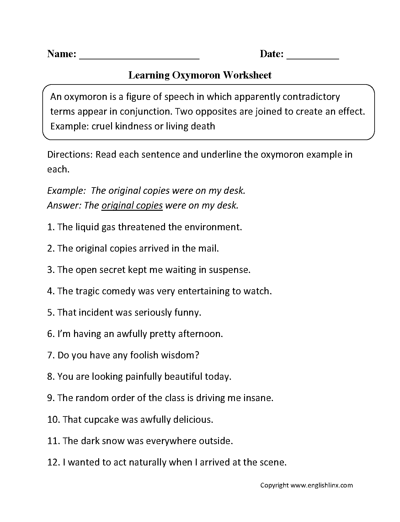 Oxymoron Figurative Language Worksheets | Englishlinx Board | Free Printable Literary Elements Worksheets